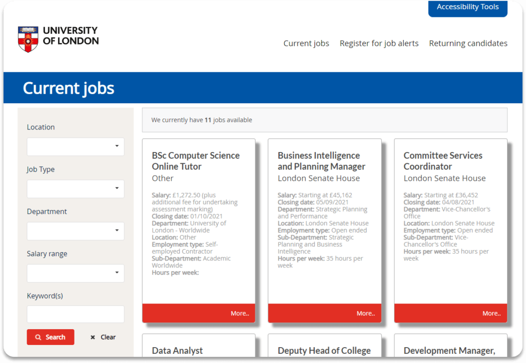 University of London careers page 2